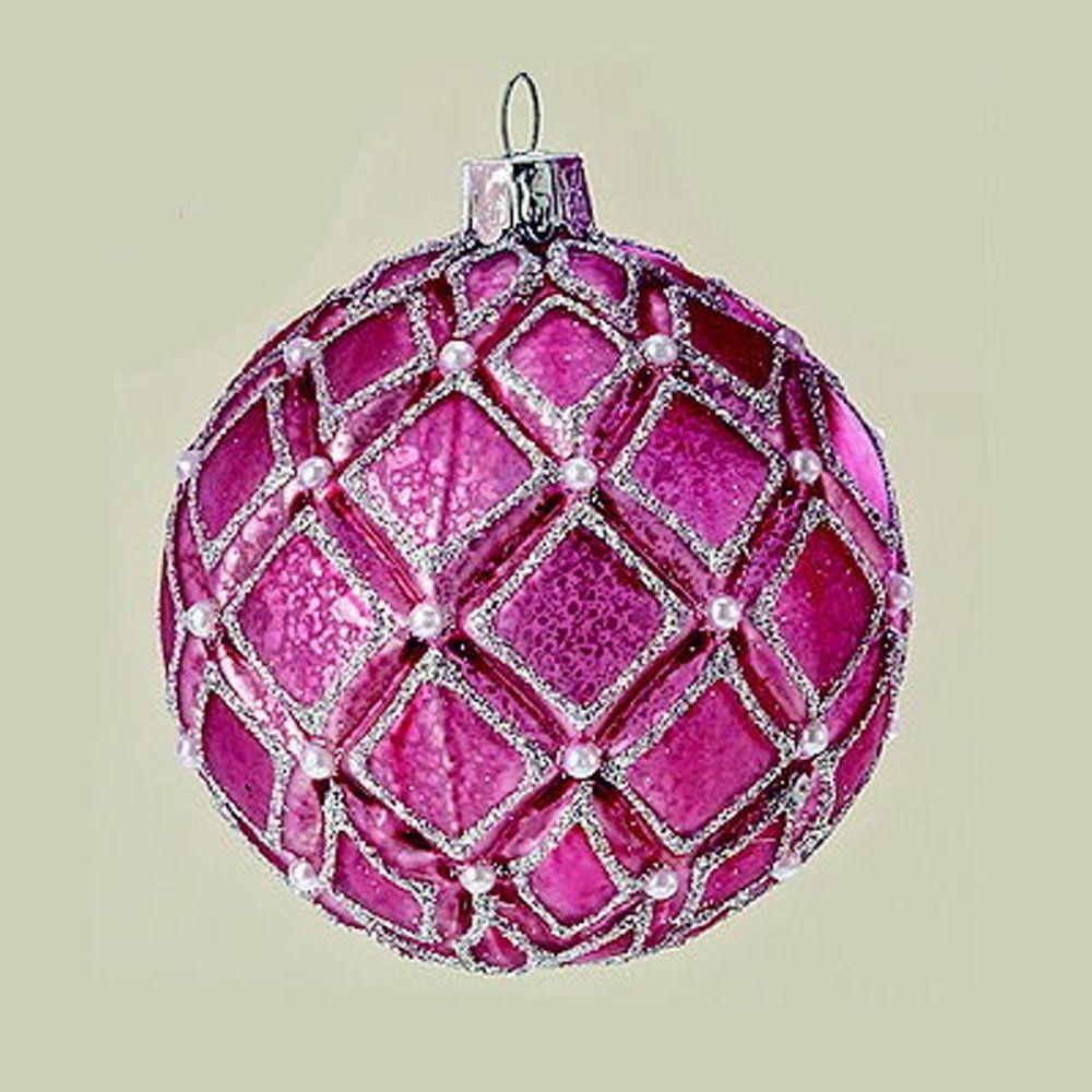 "MARC® Christbaumkugel Weihnachtskugel ""SARINA"", Glas, fuchsia #03"