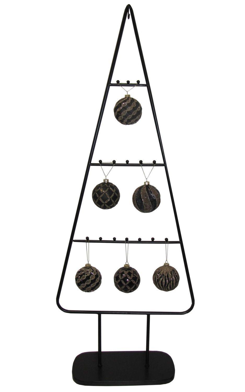 """MARC® Weihnachtsbaum Christbaum """"METALL NOIR"""" mit Glaskugel-Set """"MYSTIQUE"""" schwarz/ Glitter gold"""