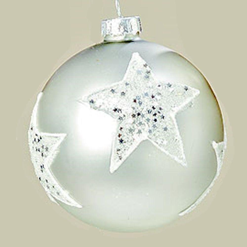 "MARC® Christbaumkugel Weihnachtskugel ""GLITTER"", Glas, silber #22"